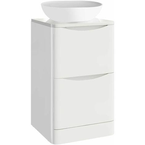 Vasari White Floorstanding 500mm Vanity Unit Countertop Basin Storage Cabinet