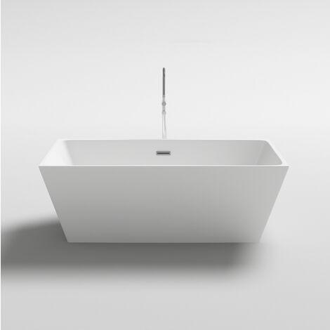 Vasca da bagno 170x80 o 160x80 freestanding per centro stanza design moderno bianco lucida