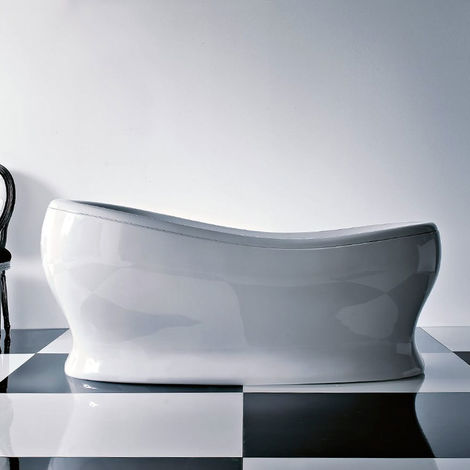 Vasca da bagno centro stanza Treesse EGG 176X84 in resina bianca lucido