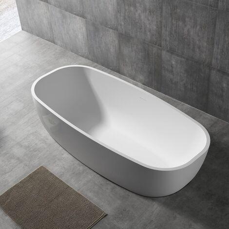 Vasca da bagno free standing greta artificial stone bianco opaco matt *** confezione 1