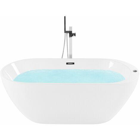 Vasca da bagno freestanding con luci LED 170 cm bianco NEVIS