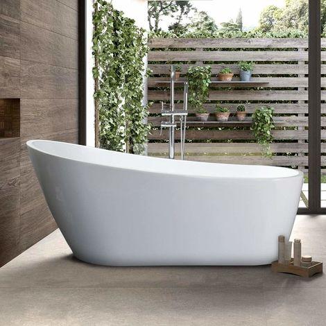 Vasca da bagno freestanding con schienale alto design liberty malta maf206bi for Vasca da bagno freestanding