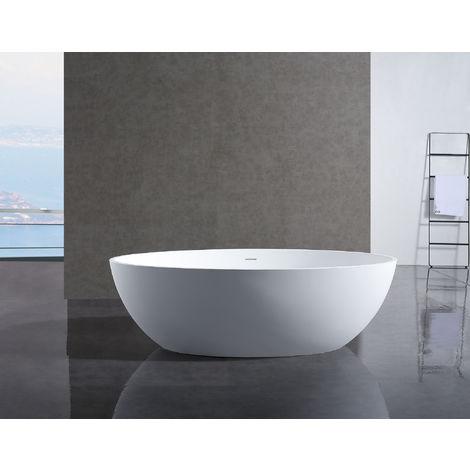 Vasca Da Bagno Freestanding In Solid Stone Relax Bianco Opaco