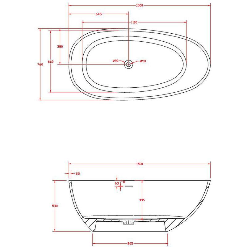Vasca Da Bagno Dimensioni.Vasca Da Bagno Freestanding Vela Dimensioni E Colore A Scelta