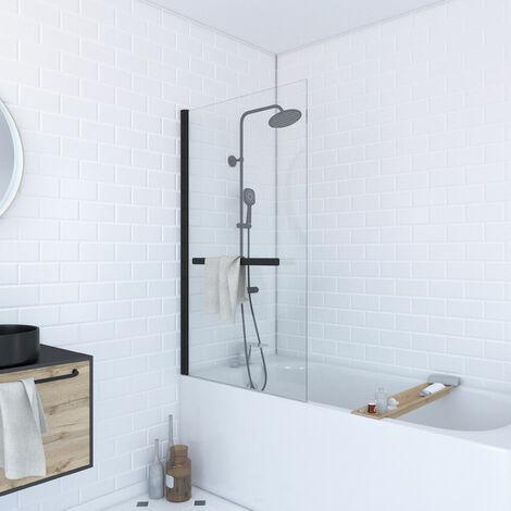 Vasca da bagno girevole 150x85 Profilo in alluminio nero opaco con porta in vetro trasparente e portasciugamani