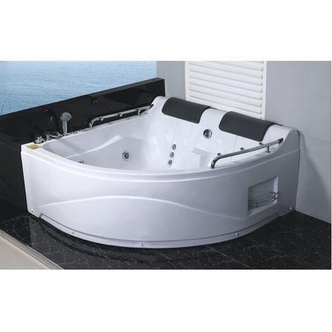 Vasca da bagno Idromassaggio 150x150 cm due persone con 11 getti cromoterapia radio versione destra