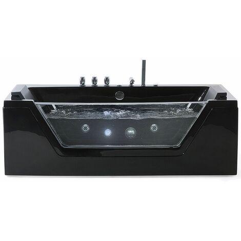Vasca da bagno rettangolare in acrilico nero con idromassaggio SAMANA