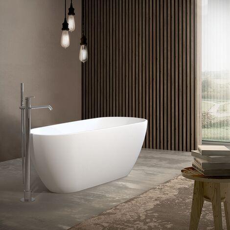 Vasca free standing 70x170 cm in marmoresina bianco opaco con troppo pieno