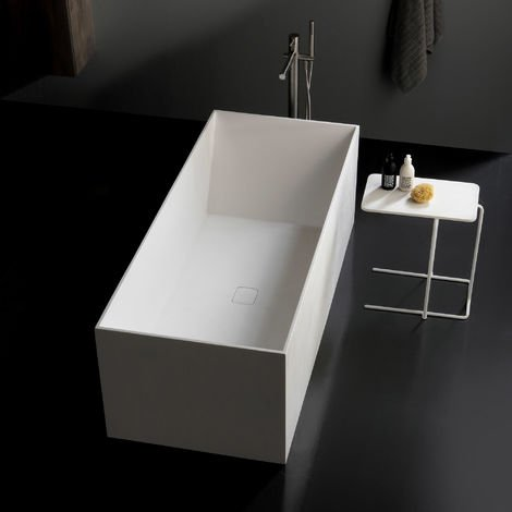 Vasca freestanding BOGOTA in solid surface 175x73 centro stanza bianco opaco