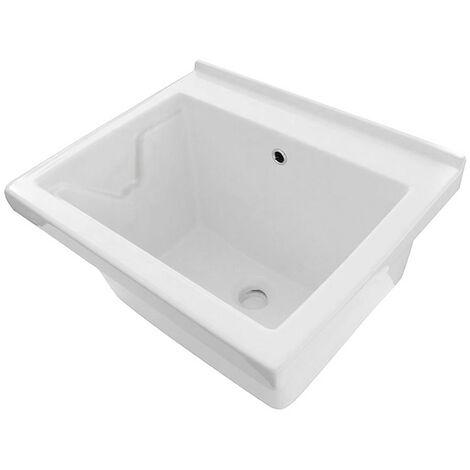 Vasca Lavatoio Incasso In Ceramica 60x50 cm Bianco Lucido