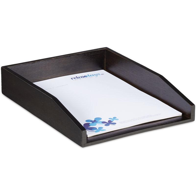 Portalettere Naturale Porta Documenti in Legno per Ufficio Relaxdays 4X Vaschetta Portadocumenti Organizer per Scrivania