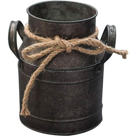 """main image of """"Vase à fleur vintage pot de fleur en fer pot de lait pot de lait style maison de campagne vase décoratif seau à fleurs rustique vase décoratif en métal seau planteur pot de cactus pour jardin"""""""