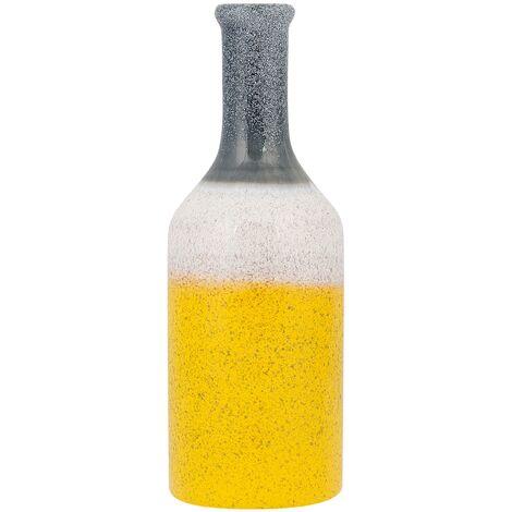 Vase décoratif jaune blanc et gris LARNACA