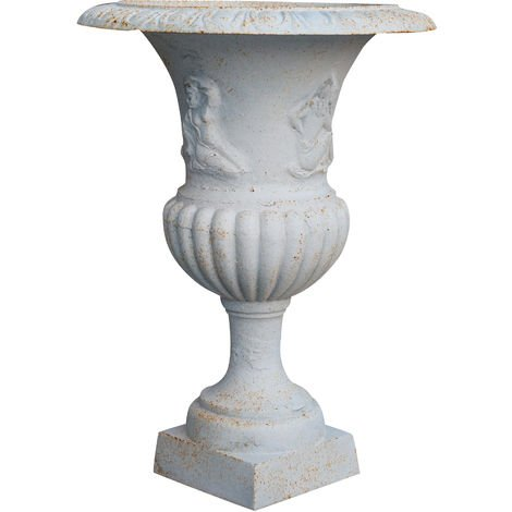 Vase en fonte finition blanc antique Diam. 58 XH75 cm