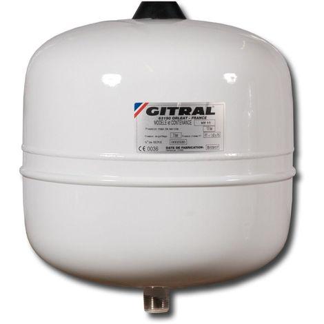 Vase GITRAL d'expansion a membrane fixe HYDROCHAUD 18 litres 10 bars ref. HY18