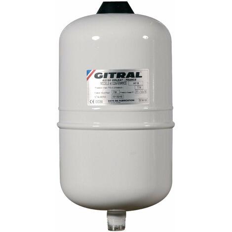 Vase GITRAL d'expansion a membrane fixe HYDROCHAUD pour eau sanitaire 5 litres pression maxi service 10 bars ref. HY5