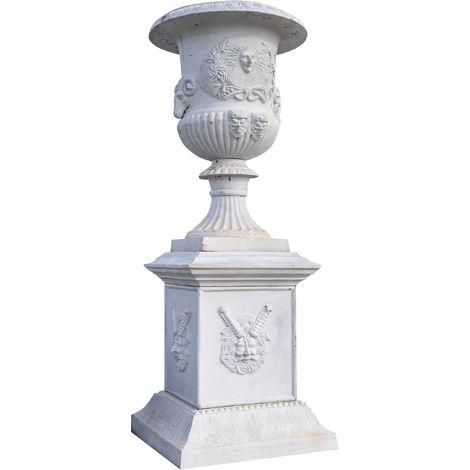 Vase with cast iron base with white antiqued finish