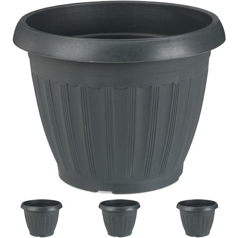Vasi Per Esterno Plastica.Vasi Per Piante E Fiori Set Da 4 Rotondi Interni Ed