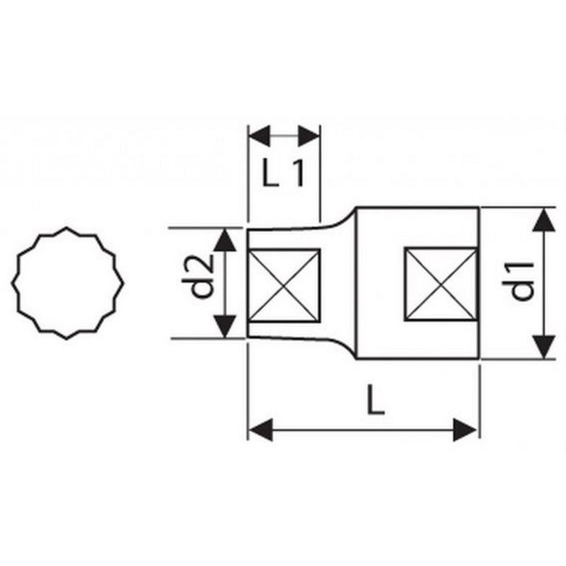 Vaso 1//4-12 Caras 1//2 Expert E113749