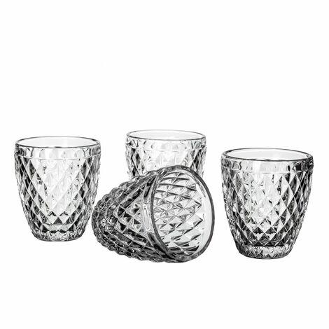 Vaso de agua de cristal transparente Diamond Set de cuatro