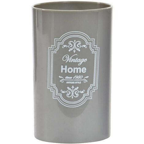 Vaso de Baño para Cepillo de Dientes. Diseño Home, con estilo Vintage/France (11,5cm X 7cm X 7cm) - Hogar y Más Gris