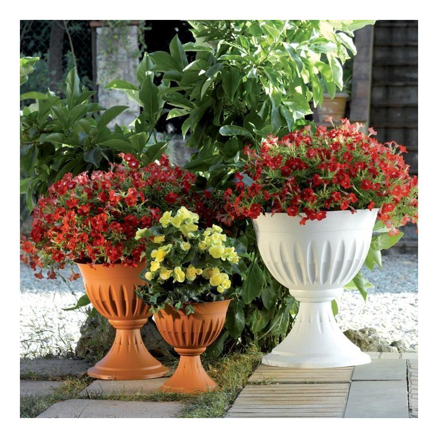Vasi Per Giardino In Plastica.Vaso Vasi Fioriera Da Giardino Colonna Alba Bama Terracotta Piede Plastica 46cm