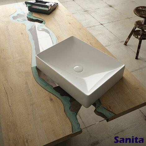 Vasque 50 cm à poser en céramique rectangulaire - Julia