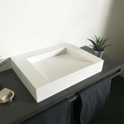 Vasque 60 cm à poser en solid surface sans percement - Soko II