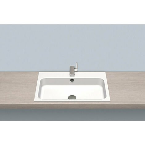 Vasque à encastrer Alape EB.SR650H, rectangulaire L : 650mm H : 127mm P : 472mm, 2219600000, blanc - 2219600000