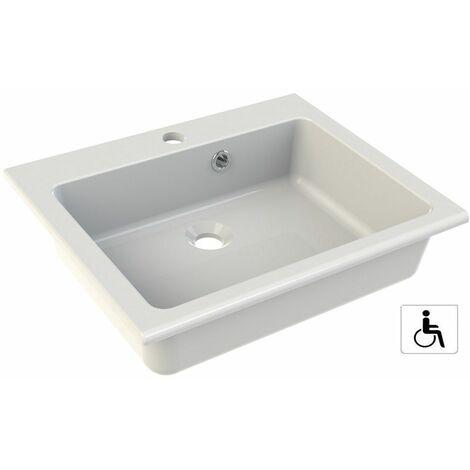 Vasque à encastrer - Dimensions : 50 x 40 cm - Couleur : BLANC