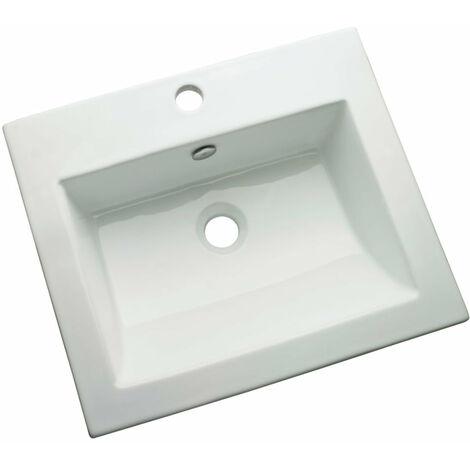 Vasque a encastrer rectangulaire avec trop plein ALTERNA MANTERA 50 x 43 cm Ceramique blanc, Ref.MENTON