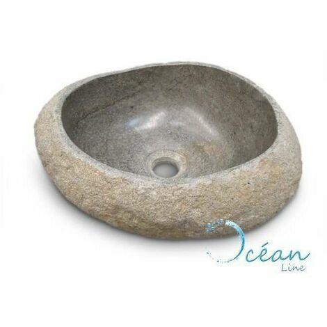 """main image of """"Vasque à poser 30 cm, lave-mains en pierre de rivière, Galéo"""""""
