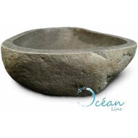 Vasque à poser 40 cm en pierre de rivière, Galéo