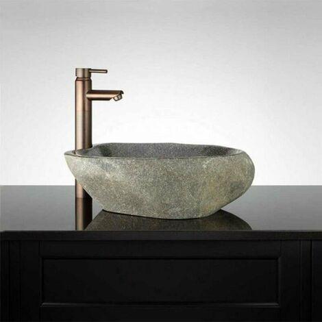 Vasque à poser 50 cm en pierre de rivière, Galéo