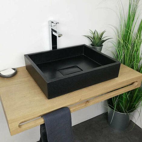 Vasque à poser 50 cm en Pierre de synthèse - Tessa noir
