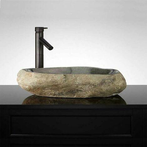 Vasque à poser 60 cm en pierre de rivière, Galéo