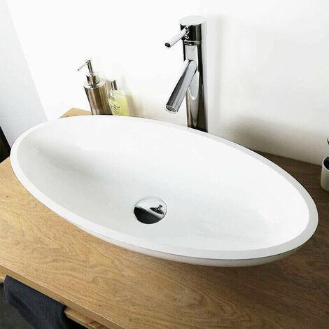 Vasque à poser 60 cm en Pierre de synthèse finition mat - Enora