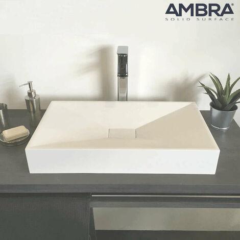 Vasque à poser 60 cm en solid surface rectangulaire en solid surface - Jade