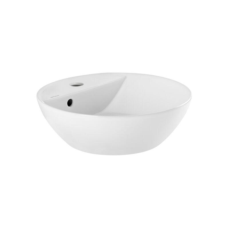 vasque avec trop plein int gr Vasque à poser ANCOSWING, ronde en céramique avec trop plein et avec plage  de robinetterie - Blanc - 635786