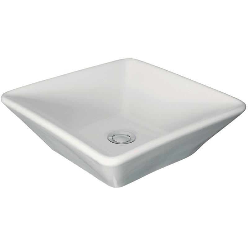vasque carre a poser Vasque à poser ANCOZEN, carré en céramique sans trop plein et sans plage de  robinetterie - Blanc