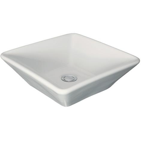 Vasque à poser ANCOZEN, carré en céramique sans trop plein et sans plage de robinetterie - Blanc