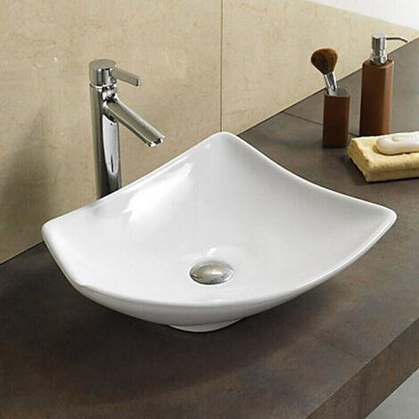 Vasque à Poser Asymétrique - Céramique Blanc Brillant - 49x38 cm - Feuille