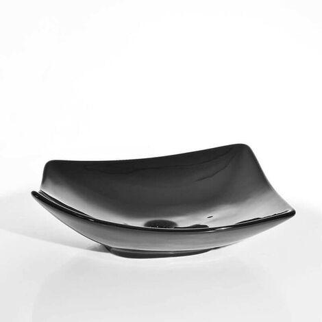 Vasque à Poser Asymétrique - Céramique Noir Brillant - 49x38 cm - Feuille