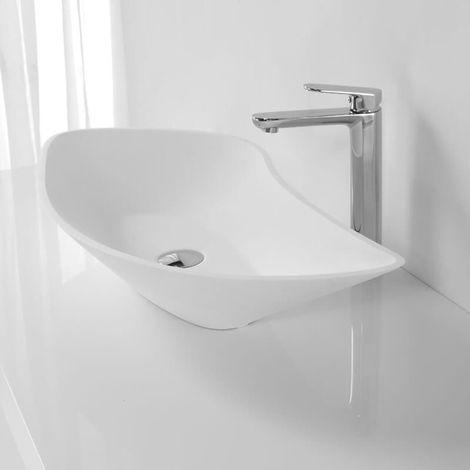 Vasque à Poser Asymétrique - Solid surface Blanc Mat - 80x38 cm - Ondea