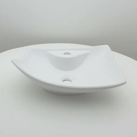 Vasque à Poser avec Plage de robinetterie - Céramique Blanc Mat - 49x38 cm - Feuille