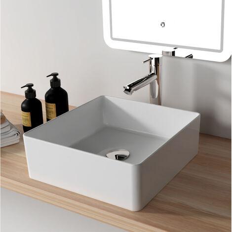Vasque à poser carrée 38.5x38.5 cm rebords fins