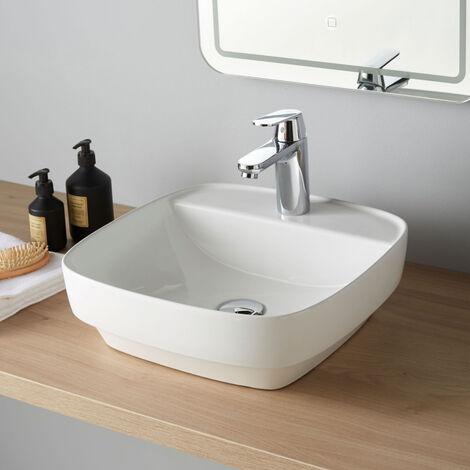 Vasque à poser carrée bords 42 cm arrondis blanche