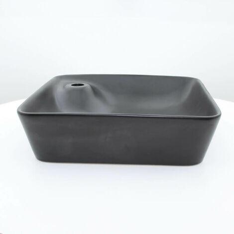 Vasque à Poser Carrée - Céramique Noir Mat - 43x43 cm - Urban