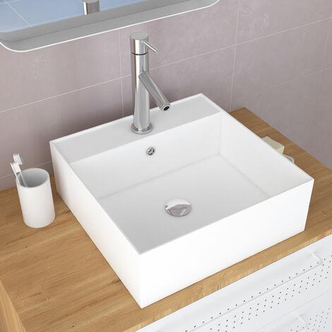 Vasque à poser carrée en céramique - 40x40x14cm - SQUARY
