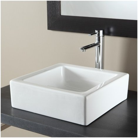 Vasque a poser carree en ceramique blanc